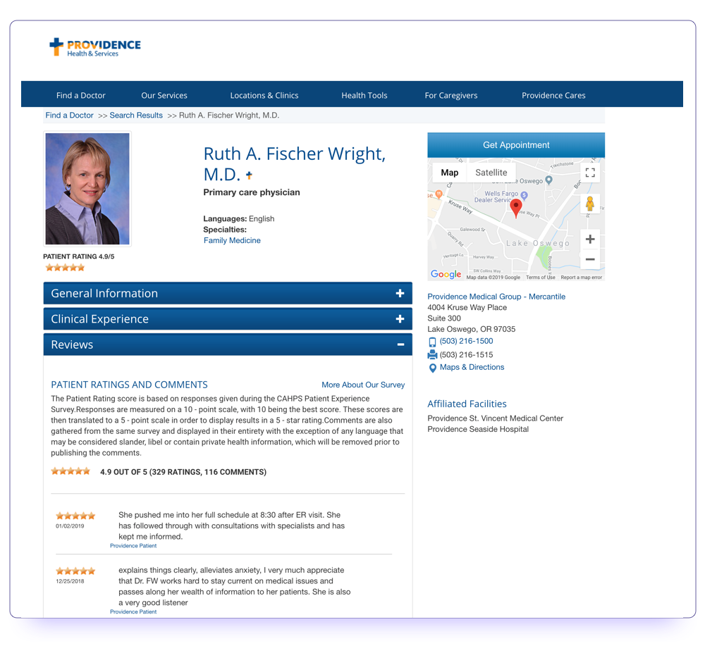Example of a doctor review page